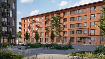 Visionsbild av kvarteret Spannlandet som Brickhouse Bostad utvecklat i Täby.
