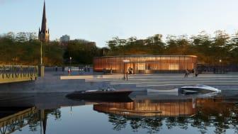 Det vinnande förslaget till stationsbyggnad på Pusterviksplatsen mellan Rosenlundskanalen och Haga.Visionsbild: Gottlieb Paludan Architects och ÅF Infrastructure