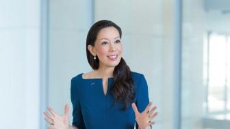 Saori Dubourg, Vorständin der BASF, spricht am Management Dialog über ganzheitliche und zukunftsorientierte Unternehmenssteuerung. Foto: BASF SE