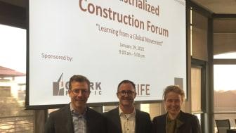 Gustav Jansson, LTU, Jerker Lessing, BoKlok, och Susanne Rudenstam, Sveriges träbyggnadskansli på IC Forum 2020.