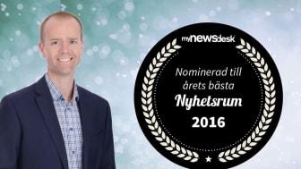 Mattias Lundberg nominerad till Årets nyhetsrum 2016.