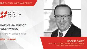 Robert Saltz -ansvarig för studentservice och föreläsare på Swiss Hotel Management School IHTTI, School of Hotel Management