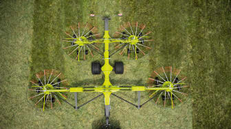 Impressive width in the new four-rotor swather