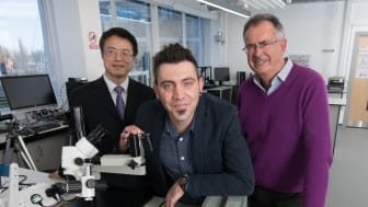 From l-r:  Professor Richard Fu and Dr Pep Canyelles Pericas of Northumbria University and Epigem Managing Director Dr Tim Ryan