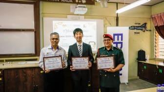 (L-R) - Mr. Mohd Hassany B. Hashim, Head of the Academic Management Sector, Kelantan State Education Department, Daisuke Hori, Managing Director of Epson Malaysia and Mr. Mohd Zamri bin Abdul Aziz, Principal of SMK Dato' Ahmad Maher