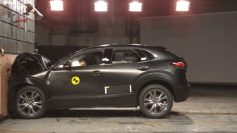 The Mazda CX-30 in Euro NCAP's full width barrier test