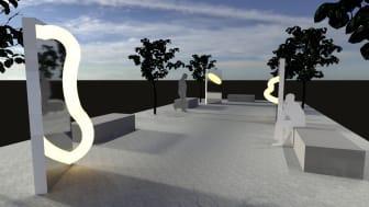 Ljusverket Reflect av Studio Tek är placerat utanför Kulturhuset Stadsteatern, bredvid den långa trappan ner till Sergels torg.