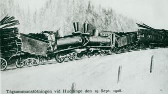 Tågsammanstöttningen vid Huddinge, 1908, tecknad bild