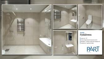 Part levererar 107 snygga badrum med granitkeramik till projektet Fyrklövern.