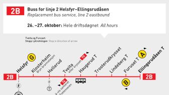 Buss 2B erstatter i helgen T-banen på strekningen mellom Helsfyr og Ellingsrudåsen.