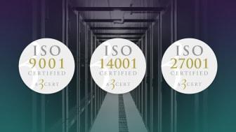 GleSYS ISO-certifierade inom kvalitet, miljö och informationssäkerhet