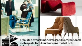 """Från vänster: Mässbesökare på Stockholm Furniture & Light Fair på 70-talet, fåtölj Etcetera från 1971, design av Jan Ekselius, samtida fåtölj """"Emma"""", producerad av Gärsnäs, foto Lennart Durehed."""