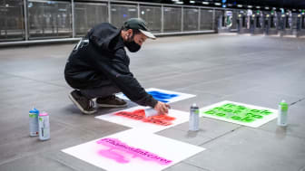 Messages of hope are applied in the early hours at Blackfriars station