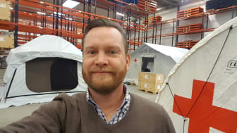 Red Cross' Jesper Ranch at DSV's warehouse