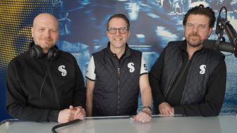 Solvalla Podcast startar livesändning på onsdagar kl. 14.00 med programledartrion (från vänster) Markus Myron, Anders Malmrot och Jörgen Forsberg. Foto: Solvalla