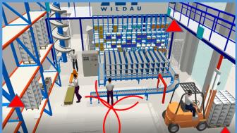 Simulierte Indoor-Lokalisierung am Beispiel des Logistik-Praxislabors der TH Wildau. (Grafik: TH Wildau)