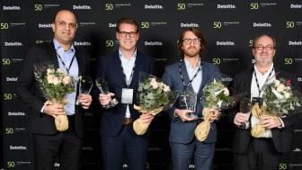 Från vänster: Ali Ahmadian; Heliospectra, Ulf Ritsvall; Fingerprint Cards, Kristofer Ekman Sinclair; Zimpler, Thomas Pileby; Serstech, Storytel kunde tyvärr inte närvara