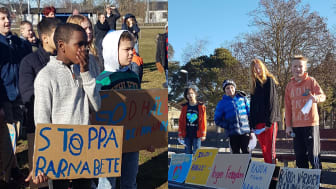 Barn på Gotland deltog i Jorden runt-loppet och förde fram sina krav på förändring. Foto: Ingegärd Karlson/WCPF