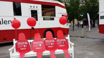 Ge blod i Kungsträdgården på Internationella blodgivardagen