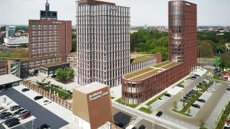 ZÜBLIN errichtet das Business Center III (Mitte), das die Baulücke zwischen dem Business Center I (links) und II schließen wird.   copyright: Cube Visualisierungen für Stauth Architekten PartGmbB