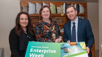 Mary McCann (USEL) with Mayor Councillor Maureen Morrow and Sean Hanna from NOW Group at the launch of Mid & East Antrim Enterprise Week