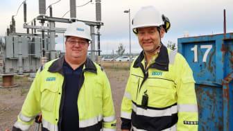 #tillsammansför17, Peter Johansson och Magnus Olofsson projektleder förstärkningen och moderniseringen av Ängelholms elnät. (Bild från stationen vid Åkerslund. Foto:Lovisa Lundström)