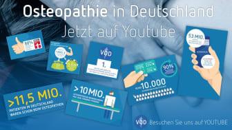 Wissenswertes rund um die beliebte Medizinform Osteopathie bietet der VOD auf seinem YouTube-Kanal (www.osteopathie.de/youtube).