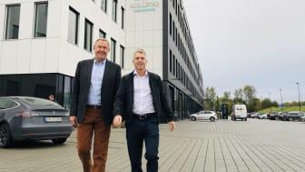 Runar Moss og Bård-Espen Hansen tar Elscoop til Kjellstad Næringspark og skal tredoble salgstallene på fire år.