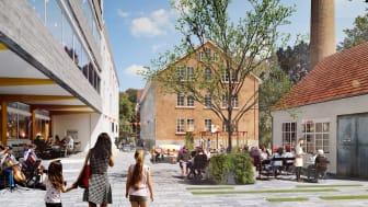 En ny mötesplats i området mitt ibland kulturminnesbyggnader (Bild: Taktics & White Arkitekter).