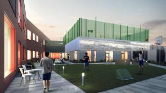 """Værket """"Mit Hav"""" af kunstneren Eva Koch bliver projekteret på den centrale bygning i retspsykiatriens nye gårdrum."""