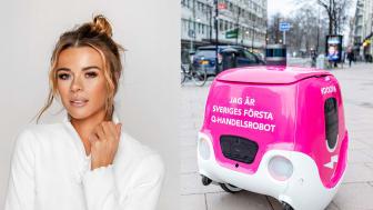 Roboten Doora levererar mat från Svenska Brasserier till Margaux Dietz