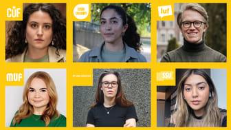 Réka Tolnai (CUF), Aida Badeli (Grön Ungdom), Alex Nilsson (LUF), Sofia Höglund (MUF), Ava Rudbeg (Ung Vänster) och Mariam Asghari (SSU).