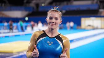 Lina Sjöberg efter VM-kvalet i dubbel mini-trampolin