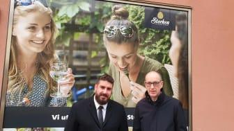 Alingsås nya krögare Chris Borchardt tillsammans med centrumchefen på Gallerian Storken, Ingvar Ivarsson.