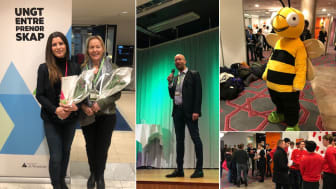 Four Entercard employees met young entrepreneurs at the local championships for student businesses last week. On the left: Camilla Nergård Kurås and Randi Mårdalen.