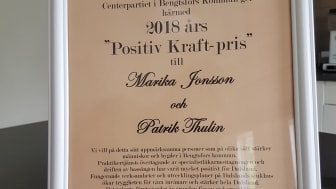 2018-års Positiv kraft-pris tilldelas Marika Jonsson och Patrik Thulin vid Praktikertjänst Närsjukhus.