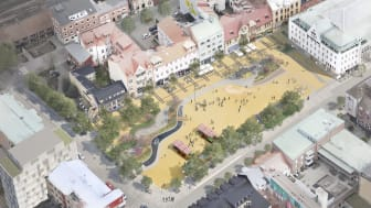 Illustration av framtidens Stora torg i Eslöv.