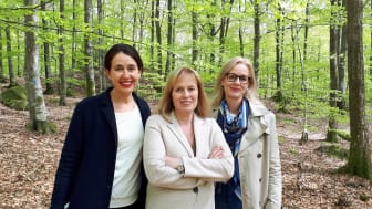 Mariette Lindstein med förlagschef Carina Nunstedt och förläggare Johanna Rydergren, Harper Collins Nordic