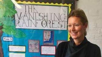Sara Alsén besöker en skola i London i arbetet med Clean Air for Children