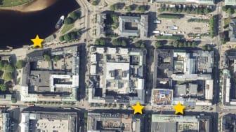 Stjärnorna markerar var Karlstads kommun placerar ut pop-up-ytor.