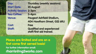 Weekly Walking Football Sessions start in North Glasgow from Thursday 25th Aug 2016