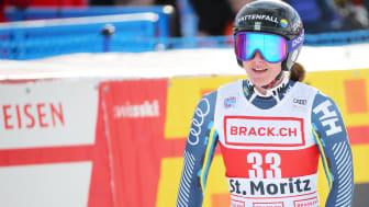 Det blir igen repris på fjolåret i St. Moritz för Ida Dannewitz, Uppsala SLK. Hon har skadad sig på träning och är på väg hem till Sverige för vidare undersökningar. Foto: Bildbyrån