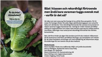 Almedalsseminarium: Bäst i klassen och rekordhögt förtroende men ändå bara varannan tugga svensk mat - varför är det så?