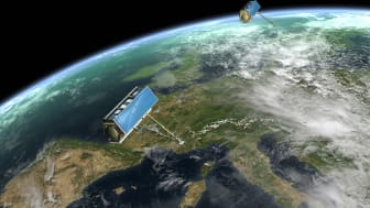 TerraSAR-X and TanDEM-X satellites in formation flight over Europe