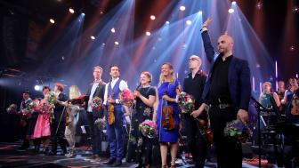 Førdefestivalen sitt største prosjekt nokon sinne, Nordic Sound Folk Orchestra, var ein av dei store suksessane for festivalen i 2017, og vart vist på NRK TV våren 2018.  Foto:  Knut Utler.
