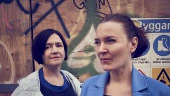 Nadine Aschenbach och Jelena Mijanovic, projektledare Återhus - att bygga hus av hus