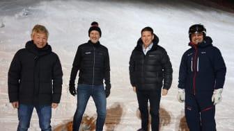 Från vänster: Thomas Dahlstedt, huvudägare till Nordrest, Stefan Sjöstrand, vd SkiStar, Pontus Frithiof, ägare och grundare Pontus Group och Jonas Bauer, destinationschef SkiStar Sälen.
