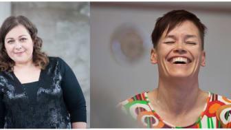 Charlotta Sairio och Veera Suvalo Grimberg är två välmeriterade scenkonstnärer som för dagen läser var sin favoritbok i serien om Alfons Åberg.
