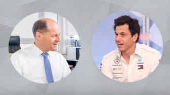 Johannes Pfeffer, styrelsens ordförande på ebm-papst i Tyskland (till vänster) och Toto Wolff, Teamchef & CEO för Mercedes-AMG Petronas Motorsport. Foto: Medcedes-AMG Petronas / ebm-papst / Adobe Stock Kaikoro