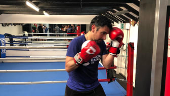 Seconds out: Brighton station's boxing beginner Dan Canales is ready to fight for cancer research